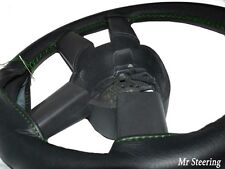 FITS TOYOTA PRIUS MK2 BLACK LEATHER STEERING WHEEL COVER GREEN STITCH 2003-2009