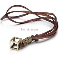 Bronze Tone Hollow Box Pendant Necklace w Brown Adjustable Leather Cord Chain