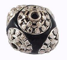 2 Kashmiri Perlen toll verzierte Tonperle Schwarz Kugel 15mm Indische BEST R179