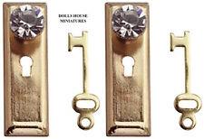Diamond Door Handles & Keys, Pair  Dolls House Miniatures Crystal  Knobs & Key