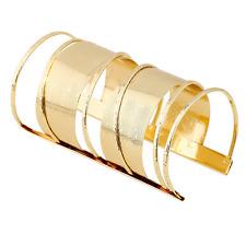 Fashion Men Women Gold Punk Bangle Open Cuff Wide Charm Big Bracelet Jewelry