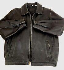 Savile Row Mens Jacket Bomber Flight Distressed Leather Black Coat Size Medium