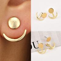 Women Gold Alloy Crescent Moon Double Side Geometric Ear Stud Earrings Jewelry