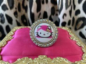 Tarina Tarantino Pink Head Hello Kitty Cameo Pink Hair Crystal AB Swarovski Ring