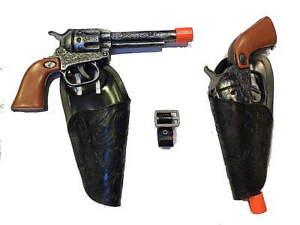 Kids Wild West Cowboy Western 2 Clicker Gun Holster Set w/ Belt (ant)