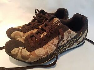 Women's Girl's Coach Hilary Signature C Khaki Brown Athletic Shoes Sneakers 5 M