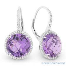 12.36 ct Amethyst & Diamond Halo Leverback Dangling Drop Earrings 14k White Gold