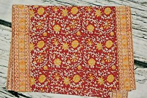 Pottery Barn Rust Red Yellow Gold Floral Placemats Set of 4 - 14x20