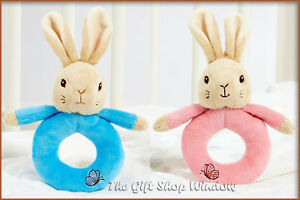 PETER RABBIT OR FLOPSY BUNNY BABY RING RATTLE BRAND NEW 0+ SOFT PLUSH BABY SAFE