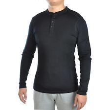 Men 100% Merino Wool Mid weight Base Layer Long Sleeve Henley Top Outdoor Shirt