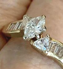 14K Yellow Gold 1 Ct Diamond Engagement Marquise Trillion Baguettes Size 7