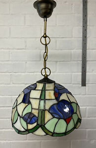 Tiffany style hanging pendant stained glass Blue Bird ceiling light shade (1)