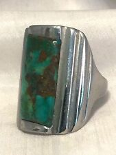 Vintage Sterling Silver Southwest Tribal Ring Turquoise Size 7.5 10.8g