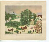 VINTAGE CHRISTMAS TREE FARM HORSES SLEIGH SNOW HOUSE GRANDMA MOSES GREETING CARD