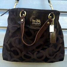 COACH Brown Sateen Monogram Brooke Op Art Satchel Handbag $298