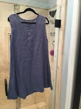 FLAX women's Cornflower Blue gray sleeveless linen loose dress, Size: L