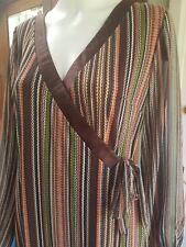 MOTIVE Wrap Jersey Dress Size 14 - BROWN AMBER PISTACHIO TAN   *Aust Brand*