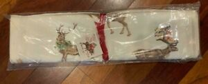 NEW Pottery Barn Silly Stag Reindeer Table Runner Hoiliday WInter 16 x 108