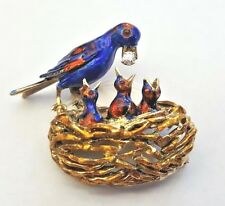 14K GOLD BROOCH WITH ENAMELED & DIAMOND BIRDS IN THE NEST FIGURINE  VERY RARE