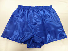 Royal Blue Poly Satin Boxer Shorts Large