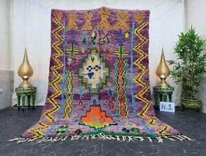 """Moroccan Handmade Vintage Rug 6'x8'6""""  Berber Patchwork Purple Orange Wool Rug"""