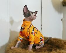Gucci & Micky Logo Cat Shirt Clothes Pet Fashion Accessiores Sphynx Cat Clothing