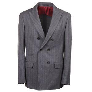 Brunello Cucinelli Gray Herringbone Mid-Weight Cashmere Sport Coat 40R (Eu50)