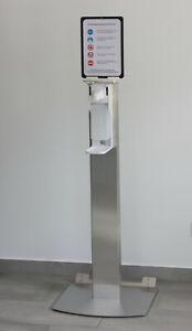 Edelstahl Desinfektionsmittel - Spender Desinfektionsständer Hygienesäule mobil