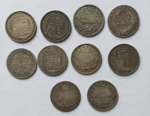 Job Lot of 10 x Victoria One Shilling Coins 1848 To 1891 Rare 1848