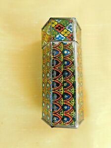 Antique Portable Hexagon Painted Tin Inkwell w/Glass Bottle Insert - Asian Label