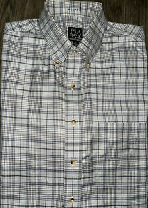 Mens Jos A Bank Traveler Collection Long Sleeve Plaid Button Up Shirt Large EUC