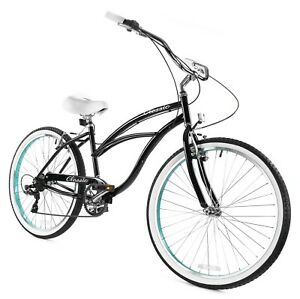 Zycle Fix Classic Beach Cruiser Women 7 Speed Bicycle Bike Geany NEW