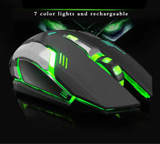 2.4G USB Wireless Mouse Rechargeable PC Laptop Silent Mice Game Office LED Light