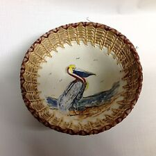 Hand painted pottery bowl with rattan rim - pelican design