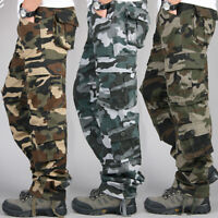 Mens Cotton Camo Military Pants Multi Pockets Outdoor Casual Overalls Trousers