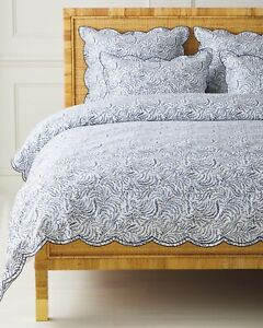New Serena & Lily King/Cal King Priano Duvet Cover Navy $398 Retail