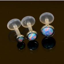 Bezel set OPAL GEM Stone Push in Bioflex Labret stud Lip Tragus helix ear monroe