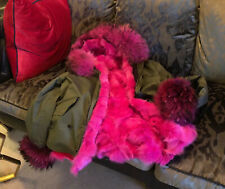 Fur Lined & Fur Hood Parka Pink Racoon & Fox Size Medium Reduced!