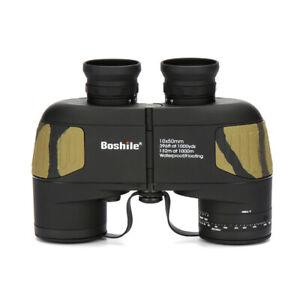 10x50 Waterproof Floating Binocular Navy Telescope with Rangefinder Reticle