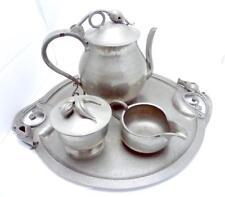 Vintage Serge Nekrassoff Hand Wrought Pewter Large Coffee Tea Set Platter 23714