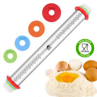 DSL Stainless Steel Adjustable Rolling Pin Thickness Ring Non Stick French Style