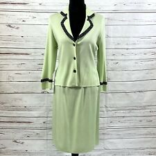 Exclusively Misook Women's 2PC Skirt Suit Green Knit Blazer size S Skirt Size M
