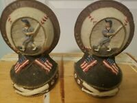 Beautiful Vintage Looking Baseball World Series Bookends!  Heavy Duty!