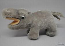 Steiff Mockie Hippo Grey Mohair Plush 10cm 4in 1950s Hippopotamus no ID Vintage