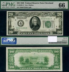 FR. 2050 D $20 1928 Federal Reserve Note Cleveland D-A Block Gem PMG CU66