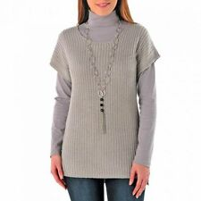 Pull en maille brillante manches courtes gris - taille 56 - neuf
