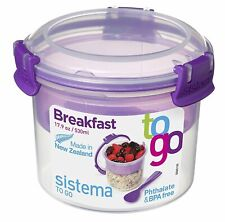 Sistema 530ml Breakfast Storage Container Klip It Porridge Bowl Snack Tiffin Box
