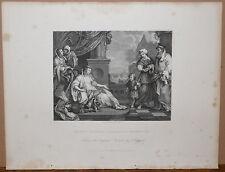 Hogarth - 'Moisés antes de la hija de Faraón' - Antiguo Acero Grabado/impresión