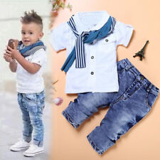 1Set Kids Baby Boys Short Sleeve T-Shirt Tops Scarf Trousers Clothes Outfits Set