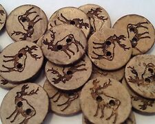 10 CHRISTMAS ELK, MOOSE, REINDEER NATURAL COCONUT 18mm BUTTONS CARDS DECORATIONS